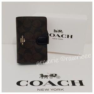 New Coach black brown Bifold wallet & gift box